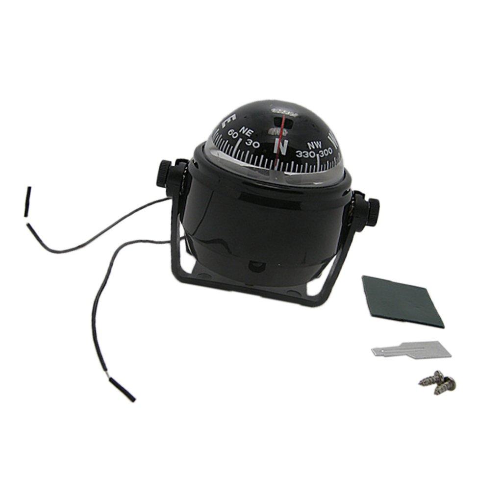 Sharplace Mini Compá s de Navegació n de Ajustable para Embarcaciones Color Negro
