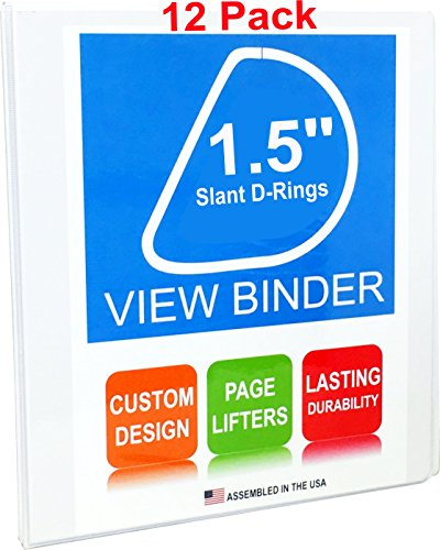 3 Ring Binders, 1.5 Inch Slant D-Rings, White, 12 Pack, Clear View, Pockets