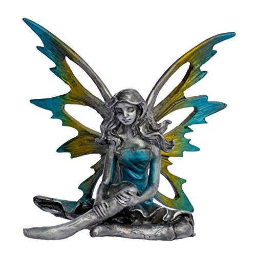 Pixie Glare Pewter Fairy Figurine Collectible Statue. Ice Fairy Golden Blue Wings 2.75