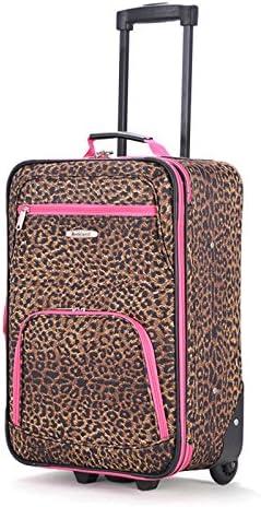 Rockland Fashion Softside Upright Luggage Set, Pink Leopard, 2-Piece (14/20)