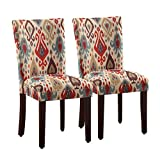 parson dining chairs HomePop Parsons Upholstered Accent Dining Chair, Set of 2, Sienna