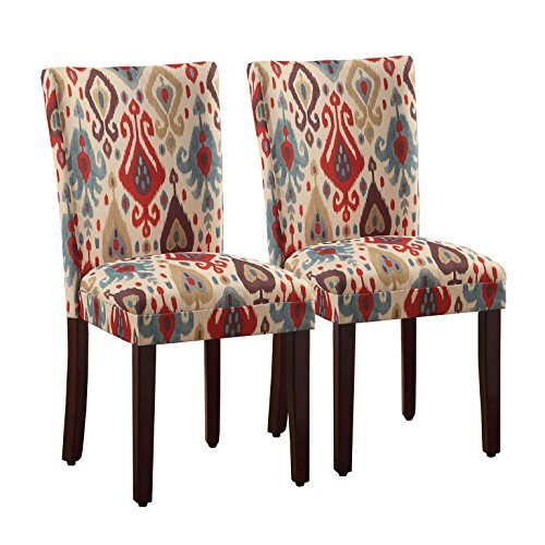 HomePop Parsons Upholstered Accent Dining Chair, Set of 2, Sienna Ikat - Cherry Upholstered Ottoman