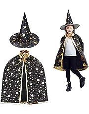 Toveraarskostuum voor kinderen, halloweenkostuum, tovermantel met hoed, heksenmantel, sterren, cape, toverhoed voor kleine kinderen, jongens, meisjes, cosplay, zwart