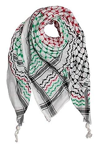Hirbawi Kufiya Original Men's Arab Scarf One Size Black, Red and Green on White (Palestinian Scarf For Men)