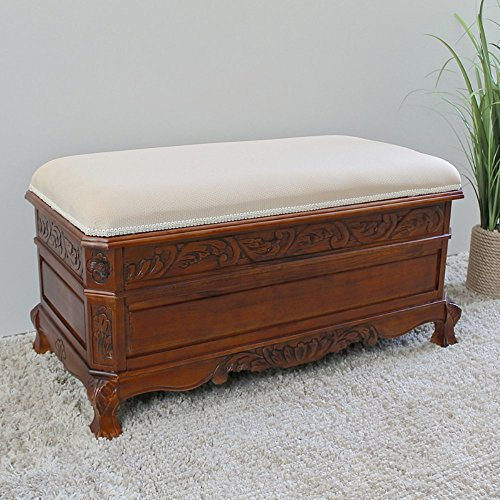 International Caravan Windsor Hand-Carved Ornate Hope Chest Bench