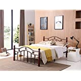 HODEDAH IMPORT Hodedah Complete Bronze Metal Bed with Headboard, Footboard, Slats and Rails in Queen Size