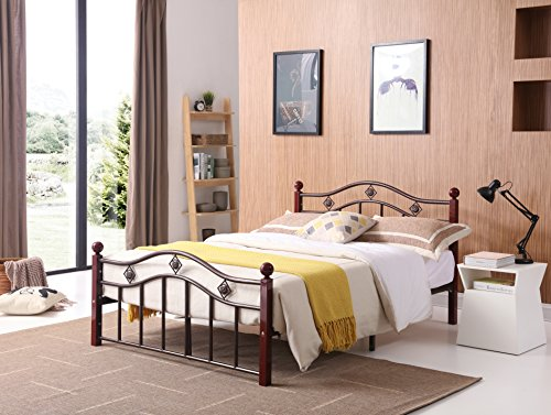 Hodedah Complete Bronze Metal Bed with Headboard, Footboard, Slats and Rails in Queen Size ()