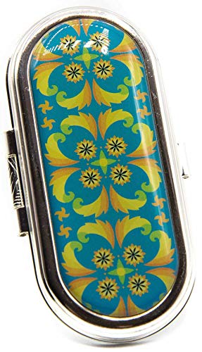 Vintage Clip-on Round Lipstick Case With Mirror (Psychedelic Turquoise)