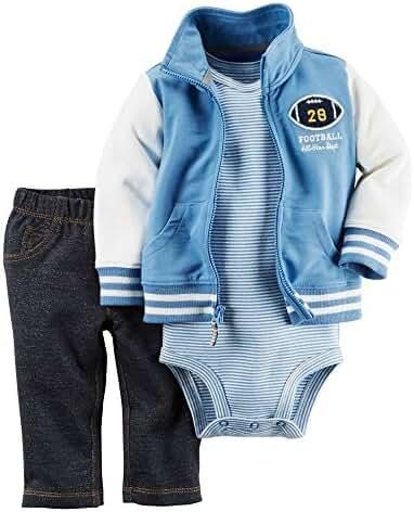 Carter's Baby Boys 3-Piece Short-Sleeve Safari Bodysuit, Football, 6 Months