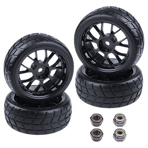 4-Pack HobbyPark RC Tires & Wheel Rims 12mm Hex Hub Y Shape w/Foam Inserts for 1/10 Remote Control Car On Road Touring ()