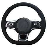 vw r steering wheel - XuJi Suede Genuine Leather Steering Wheel Cover for 2015 2017 Volkswagen VW Jetta GLI / 2015-2017 Volkswagen VW Golf R / 2015-2017 Volkswagen VW Golf 7 MK7 GTI (Red and Blue Thread)