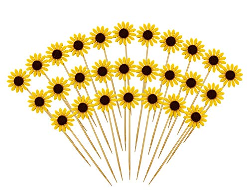 Cupcake Topper Picks Cake Decoration Supplies for Halloween Party Birthday Wedding Anniversary Luau Bench Party Babyshower Party (Sunflower, 30pcs)