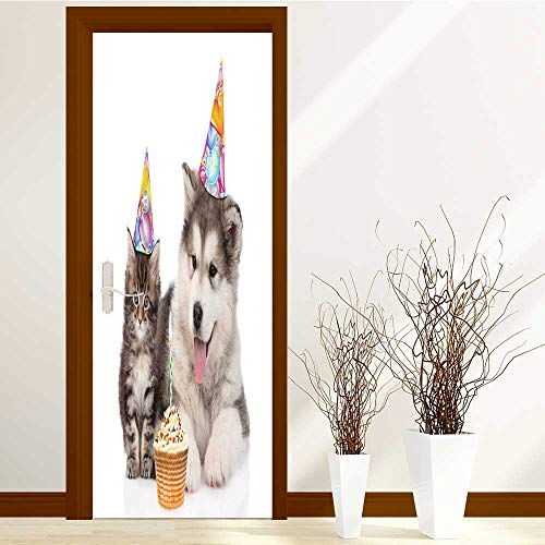 TextileLIHome Static Cling Glass Film Puppy and Kitten in Birthday Hats Privacy Window Film Decorative Window Film W31 x H79 by TextileLIHome