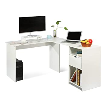 more photos 4b5be 0f7c2 Ej. Life L-Shaped Office Computer Desk, Large Corner PC Table with monitor  stand, White Wood Grain(2 Carton Packages)
