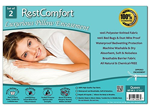 Why Choose Set of 2 Bed Bug and Dust Mite Bacteria, Allergy Proof / Waterproof Pillow Protectors - H...