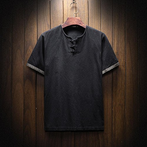 Pervobs Men Shirts, Men's Summer Casual Short Sleeve Linen and Cotton Solid V-Neck T-Shirt Top Blouse Tee (M, Black) by Pervobs Men Shirts (Image #1)