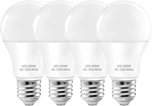 Led Light Bulbs 3000k ,A19 Led Bulb E26 Base,E26 Led Bulb Soft White,60 watt Bulb Energy Saving,9W (60-75 Equivalent),Best for Desk /Floor Lamp,Non-dimmable 4 Pack