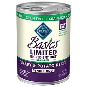 Blue Basics Limited Ingredient Diet Senior Grain Free Turkey & Potato  Wet Dog Food 12.5-Oz (Pack Of 12)