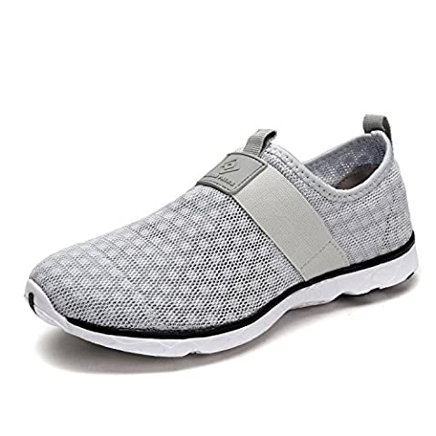 Dream Pairs 1611026-M Men's New Summer Mesh Light Weight Flexible Athletic Easy Walking Slip On Sport Water Swim Shoes LT.GREY SIZE - Grey Sports Shoes