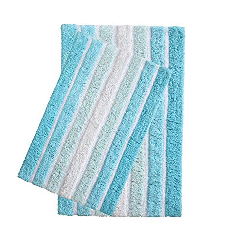 2-Piece Cotton Alpine Stripe Bath Rug Set - 100% Cotton Bath Mat Rug - 21x32/17x24 - Soft Absorbent Machine Washable - Aqua Turquoise