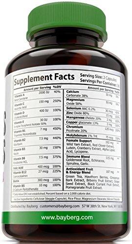 Women039s Multivitamins Antioxidant Energy Supplement with Minerals Vitamin A C D E B complex Vitamins B1 B2 B3 B5 B6 B12 Calcium Zinc Biotin and Folic Acid Anti Aging Immune amp Bone Support Discount