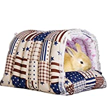 Mkono Cozy Warm Hut Rabbit Hammock Hanging Bed House Habitats Cage for Rabbit Guinea Pig Ferret XL