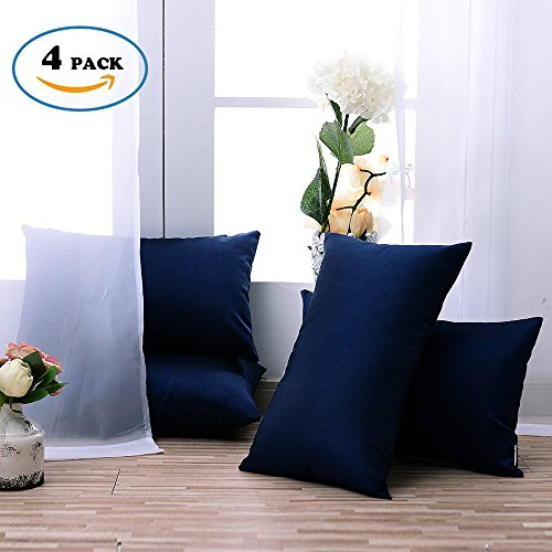 Euro Throw Cushion Covers for Couch - Pony Dance Double Square Luxurious Throw Pillow Covers Home Decorative Cushion Shams for Sofa Including Hidden Zipper Design,Navy Blue,12