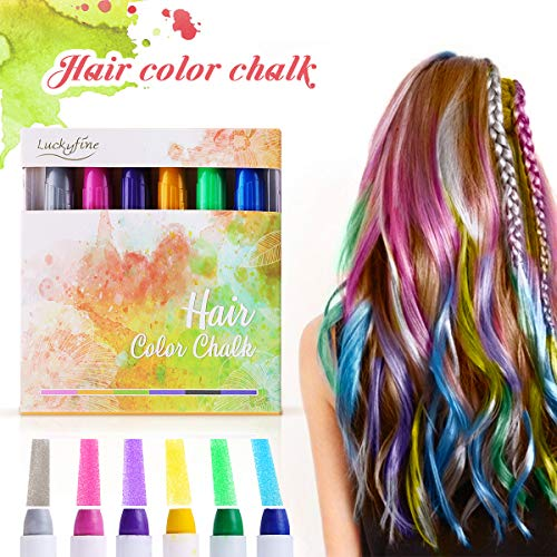Hair Chalk, Luckyfine Temporary Hair Color, Hair Chalk for Kids, 6 Colorful Hair Chalk Pens, Temporary Hair Chalk Set, Washable Hair Dye Chalk Safe for Kids And Teen Halloween Christmas Party -
