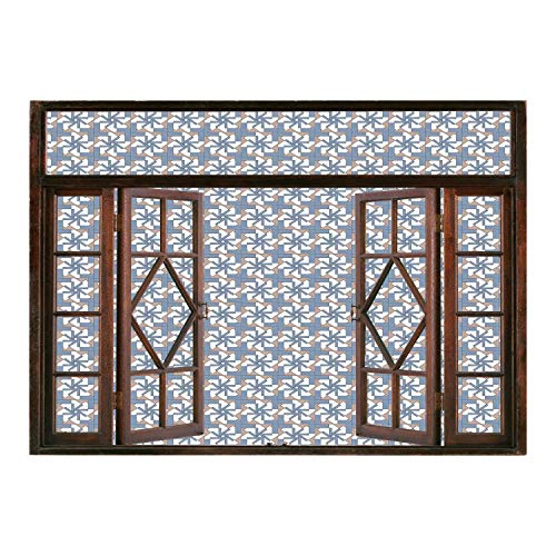 SCOCICI Window Frame Style Home Decor Art Removable Wall Sticker/Geometric,Abstract Composition Graphic Floral Motifs with Squares Pattern,Slate Blue Dried Rose White/Wall Sticker Mural