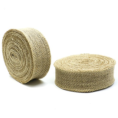 Buorsa 2 Rolls Burlap Natural Color Fabric Ribbon Roll for Weddings, Tie-backs, Sashes, Wreaths, Bows, Gift Wrap, Tree Wrapping, & Crafts , 10 Yards Per Roll