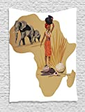 Ambesonne Safari Decor Collection, Illustration with Africa Map and Traditional Local Lady Savannah Ceremony Features Tribe Print, Bedroom Living Room Dorm Wall Hanging Tapestry, Multi