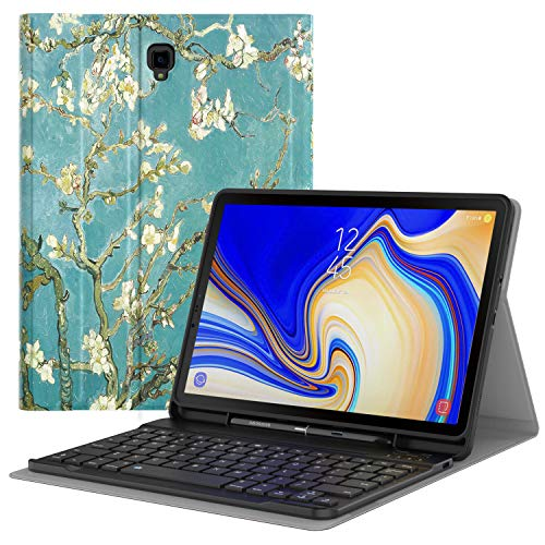 MoKo Keyboard Case Fit Samsung Galaxy Tab S4 10.5 2018 Release Tablet SM-T830/T835, Slim Folio PU Leather Stand Cover w/Detachable Wireless Bluetooth Keyboard,Built-in S Pen Holder - Almond Blossom