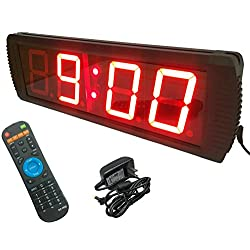 GANXIN Multifunctional 4'' High 4 Digits LED Wall Clock, With Countdown/up Digital Timer, 12/24-Hour Real Time Clock, Stopwatch by Remote Control, Red Color