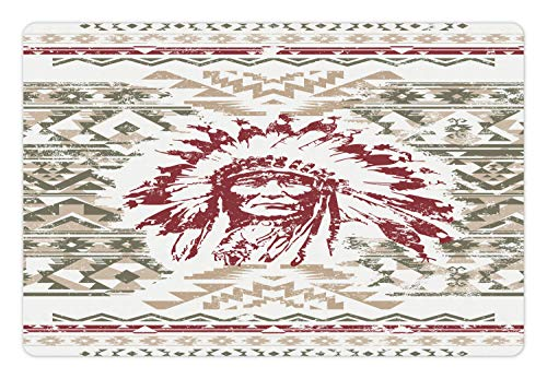 Eagles Geometric Rug - Ambesonne Art Pet Mat for Food and Water, Retro Style Eagle Heart Chief Trail Grunge Effect and Geometric Motif, Rectangle Non-Slip Rubber Mat for Dogs and Cats, Sage Green Ruby and Tan