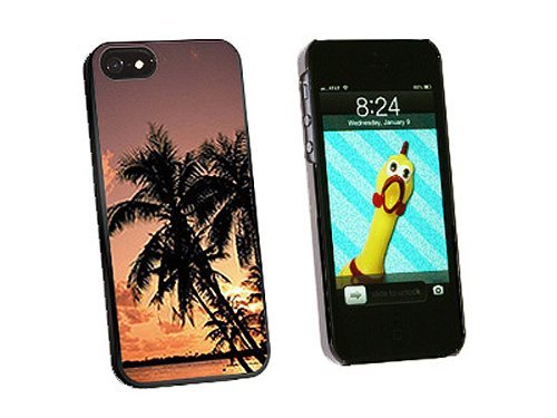 Graphics and More Tropical Beach Sunset Sunrise Snap-On Hard Protective Case for iPhone 5/5s - Non-Retail Packaging - Black
