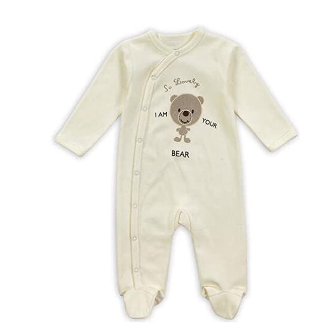 Hzjundasi Recién nacido Niños Niñas Algodón Oso de impresión Romper Monos Bebés Jumpsuit Footed Pijama Invierno