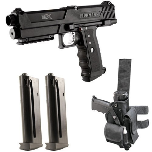Tippmann TPX Paintball Pistol Starter Kit - Black (Rap4 Tactical Paintball Vest)