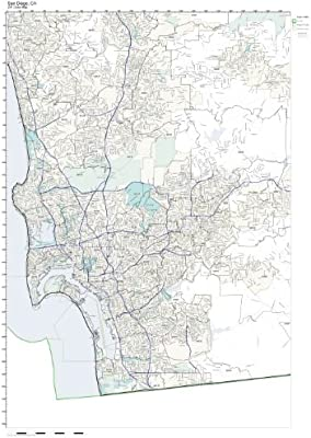 ZIP Code Wall Map of San Diego, CA ZIP Code Map Not Laminated