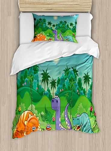 Ambesonne Nursery Duvet Cover Set Twin Size, Funny Dinosaurs and Tropical Rainforest Cartoon Jungle Green Landscape Kids Theme, Decorative 2 Piece Bedding Set with 1 Pillow Sham, Multicolor