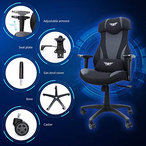 Acethrone Gaming Racing Office Chair with Mesh,Ergonomic Adjustable Swivel Chair Recliner with Lumbar Pillow and Headrest, Mobility Height and Reclining Device High Back Chair for Adults (Grey) 51oKX9sZDeL