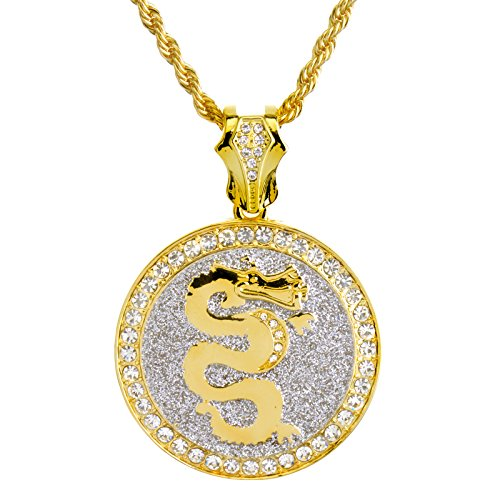 NEW Large 14K Gold Plated Iced Out DRAGON Medallion Pendant 26