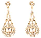 Touchstone Indian Bollywood Rhinestone bridal chandelier designer jewelry earrings for women in antique gold tone