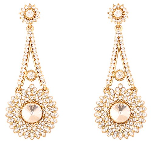 Touchstone Indian Bollywood Rhinestone bridal chandelier designer jewelry earrings for women in antique gold (Gold Designer Earrings)