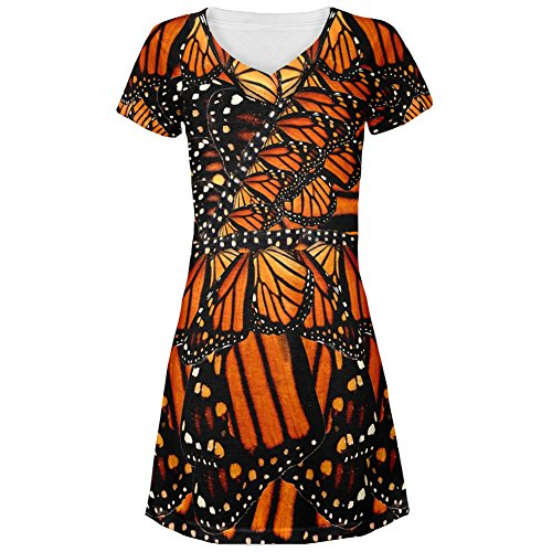 Monarch Butterfly Costume All Over Juniors V-Neck Dress - Large