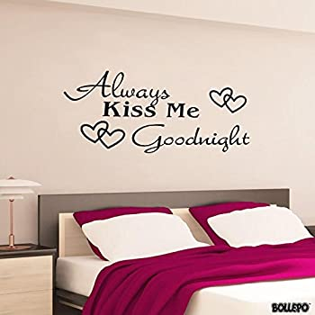 Always Kiss Me Goodnight Wall Decal Bedroom Home Decor Quote Decal Heart  Removable Vinyl Art Decoration (10u0027u0027 X 26u0027u0027)