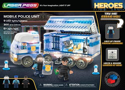 Laser Pegs Mobile Police Unit Light Up Building Kit (300Piece) (Light Up Building Construction Set Laser Pegs)