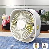 AmuseNd USB Desk Fan, USB Power Fan Ultra-Quiet Third Gear Speed 4inch Mini Fan for Office Desktop(4inch White) (Renewed)