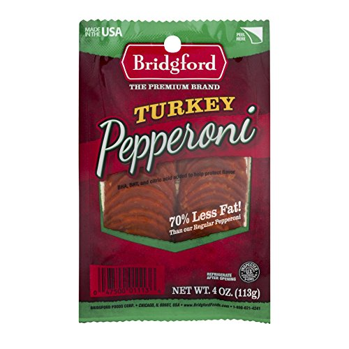 Bridgford Sliced Turkey Pepperoni, Gluten Free, 70% Less Fat, Made in the USA, 4oz, Pack of 3