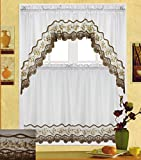 Cheap Fancy Collection 3pc White with Embroidery Floral Kitchen/cafe Curtain Tier and Valance Set 001092 (Gold/Beige)