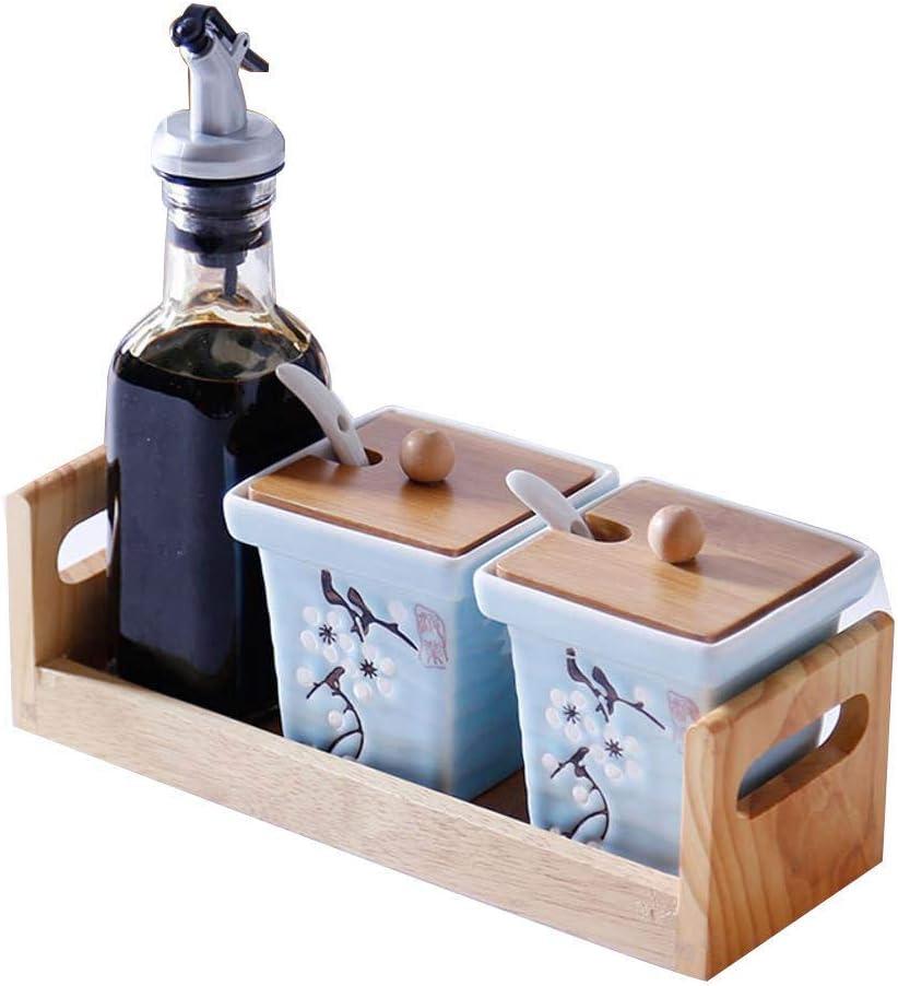 ZHJBD LIJIANZI especiero Contenedor Condimentos cerámica de Almacenamiento con el Tarro de Madera de bambú Plato de Cristal del condimento del Aceite Botella Pot 23 * 8.3 * 20cm